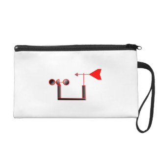 Red Wind Speed and Weather Vane Wristlet Clutch