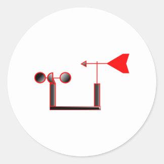 Red Wind Speed and Weather Vane Classic Round Sticker