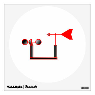 Red Wind Speed and Weather Vane Wall Sticker