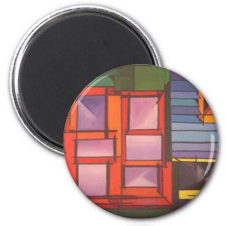 Red Window 2 Inch Round Magnet