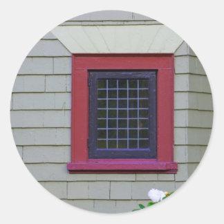 Red Window Classic Round Sticker
