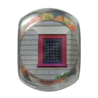 Red Window Glass Candy Jars