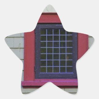 Red Window Star Sticker