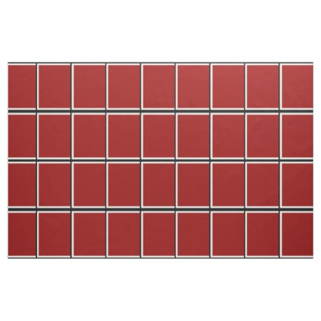 Red Windowpane Check Fabric