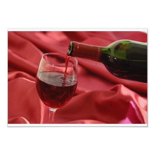 "Red Wine 3.5"" X 5"" Invitation Card"