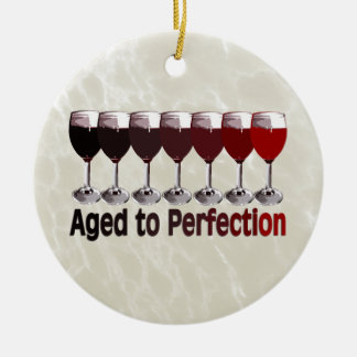 Red Wine Aged to Perfection Ceramic Ornament