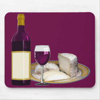 RED WINE  AND  CHEESE, CHEESE LOVERS GIFT MOUSE PAD