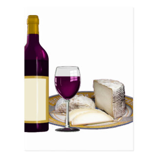 RED WINE  AND  CHEESE, CHEESE LOVERS GIFT POSTCARD