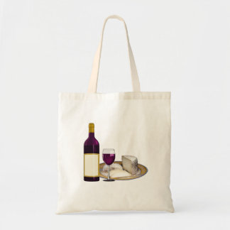RED WINE  AND  CHEESE, CHEESE LOVERS GIFT TOTE BAG