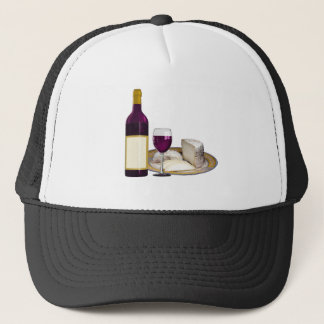 RED WINE  AND  CHEESE, CHEESE LOVERS GIFT TRUCKER HAT