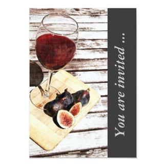 """Red wine and figs wine tasting reception invite 5"""" x 7"""" invitation card"""