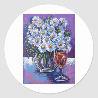 RED WINE AND FLOWERS CLASSIC ROUND STICKER