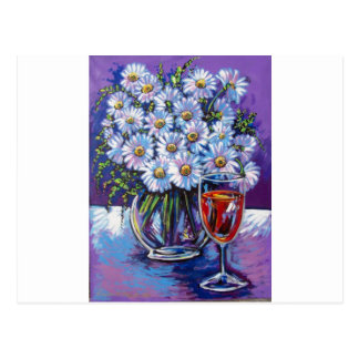 RED WINE AND FLOWERS POSTCARD