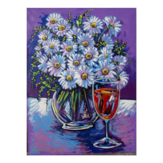 red wine and flowers poster
