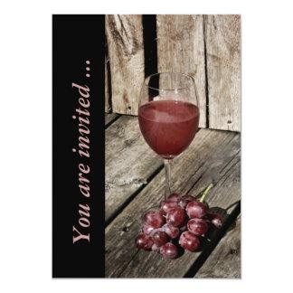 """Red wine and grapes wine tasting reception invite 5"""" x 7"""" invitation card"""