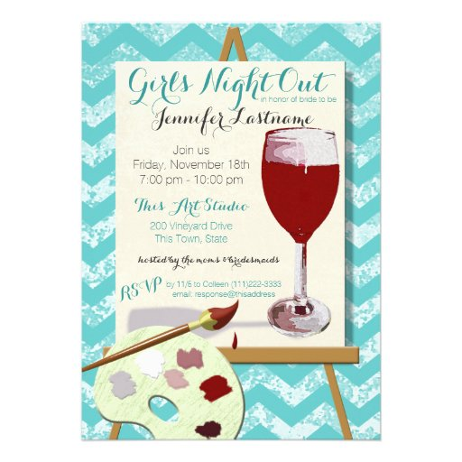 Red Wine and Painting Art Party Card