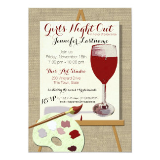 Red Wine and Painting Art Party Invitation