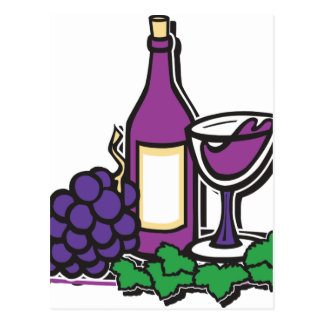 Red Wine and Purple Grapes Postcard