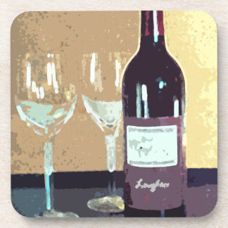 Red wine and two glasses coaster