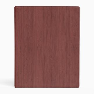 Red Wine Bamboo Wood Grain Look Mini Binder
