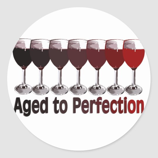 Red Wine Birthday Classic Round Sticker