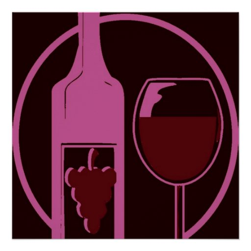 Red Wine Bottle and Glass Poster
