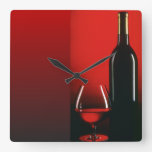 Red Wine Bottle and Glass Wall Clock