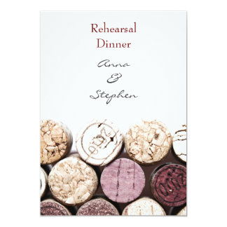 Red wine bottle corks rehearsal dinner card