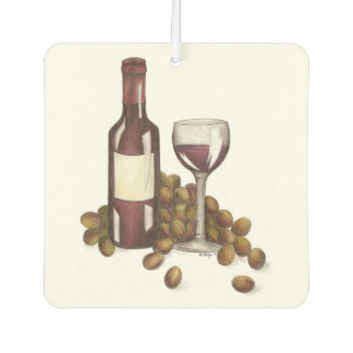 Red Wine Bottle Glass Grapes Winery Air Freshener