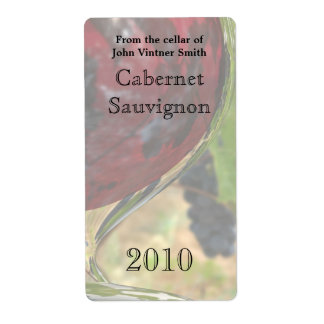 Red wine bottle label shipping label
