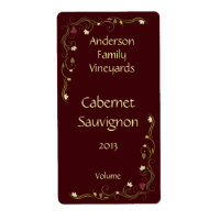Red Wine Bottle Label with Grapevine Accent