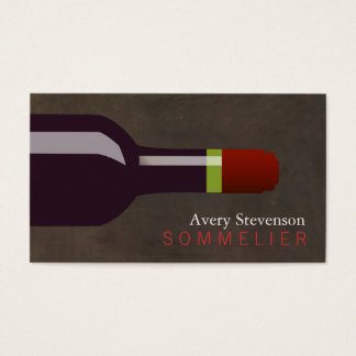 Red Wine Bottle Sommelier Brown Leather Look Business Card