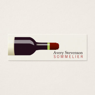 Red Wine Bottle Sommelier Mini Business Card