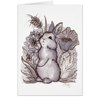 Red Wine Bunny Stationery Note Card