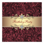 """Red Wine Burgundy and Gold Birthday Party 5.25"""" Square Invitation Card"""