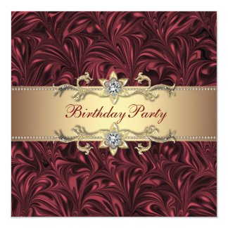 Red Wine Burgundy and Gold Birthday Party Announcements