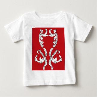Red Wine Burgundy White Brocade Elegant Design Baby T-Shirt