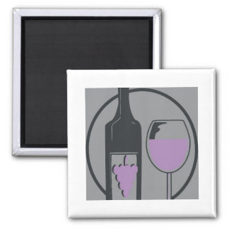 Red Wine Chablis Pop Art 2 Inch Square Magnet