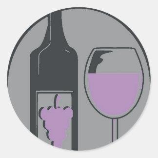 Red Wine Chablis Pop Art Classic Round Sticker