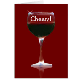 Red Wine Cheers Happy Birthday Card