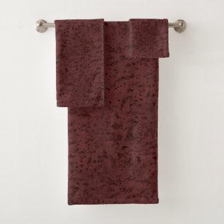 Red Wine Cork Look Wood Grain Bath Towel Set