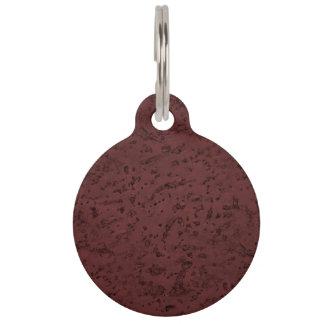 Red Wine Cork Look Wood Grain Pet Tag