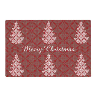 Red Wine  Damask Lace Holiday Christmas Tree Placemat