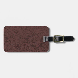 Red Wine Damask Weave Look Bag Tag