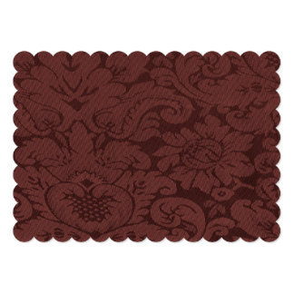 Red Wine Damask Weave Look Card