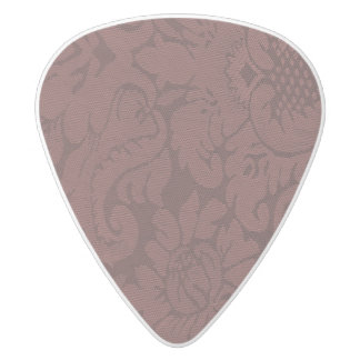 Red Wine Damask Weave Look White Delrin Guitar Pick