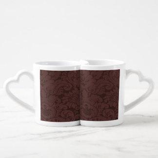 Red Wine Damask Weave Look Coffee Mug Set