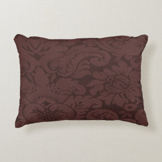 Red Wine Damask Weave Look Decorative Pillow