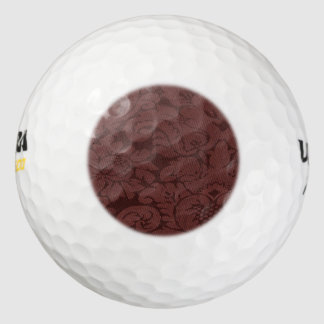 Red Wine Damask Weave Look Pack Of Golf Balls