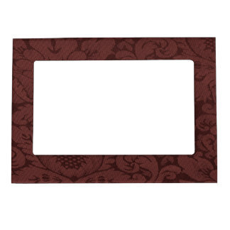 Red Wine Damask Weave Look Magnetic Frame
